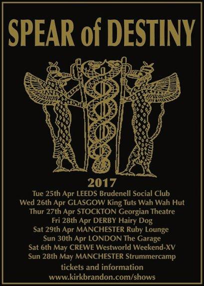 Spear Of Destiny, Kirk Brandon, Phil Martini, Craig Adams, Adrian Portas, Steve Allen Jones, live drummer, Paiste 2002, Vic Firth 3A, Aquarian heads