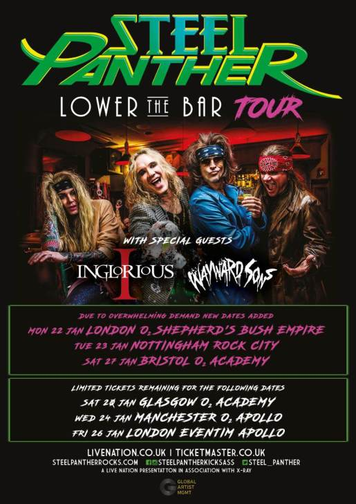 Wayward Sons 2018, Steel Panther, Lower The Bar Tour, British Rock n Roll, Ireland, England, Scotland, Toby Jepson, Phil Martini, Shepherd's Bush Empire, Nottingham Rock City, Bristol Academy, X-Ray Touring, Paiste Cymbals, Vic Firth sticks, Aquarian heads, Live drummer, Hammersmith Apollo