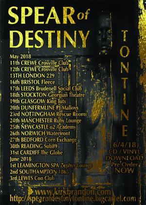 Spear Of Destiny, New LP, Tontine, Kirk Brandon, Westworld, CD/Vinyl/Download, Phil Martini, Wayward Sons, Craig Adams, The Mission, Adrian Portas, Steve Jones, Vic Firth drumsticks, Paiste Cymbals, Mapex Orion drums, Aquarian drumheads, live drummer, studio drummer, Theatre Of Hate, Oyxgene Studios, Manchester