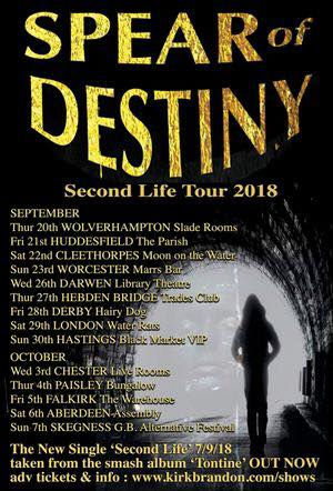 Spear Of Destiny. Second Life Tour 2018. New LP 'Tontine' out now. Kirk Brandon, Phil Martini, Craig Adams, Adrian Portas, Steve Allan Jones, Tontine CD Gold Vinyl. Westworld. 35th anniversary. Live shows. Live gigs. Phil Martin Live Drummer. Studio Drummer. Mapex Orion Drums. Paiste 2002 Cymbals. Vic Firth 3A Drum Sticks. Aquarian Response 2 Drum-heads. Ludwig Black Beauty Snare drum. Grapes Of Wrath 1983. i