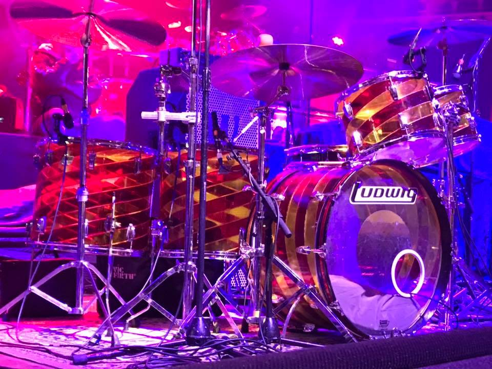 """Phil Martini, Live & Studio Drummer, Ludwig Vistalite, Candy Cane, Cherry Amber Swirl, Paiste 2002, Ludwig Black Beauty, Vic Firth 3A Drumsticks, Meinl 8"""" Cowbell, Wayward Sons, Joe Elliott's Down N Outz, Spear Of Destiny, X-Ray Touring, Frontiers Music"""