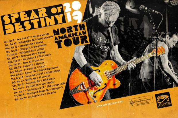 SPEAR of DESTINY North American Tour Dates 2019. Kirk Brandon, Phil Martini, Paiste 2002 Cymbals, Vic Firth 3A Drumsticks, Tontine LP, Grapes Of Wrath