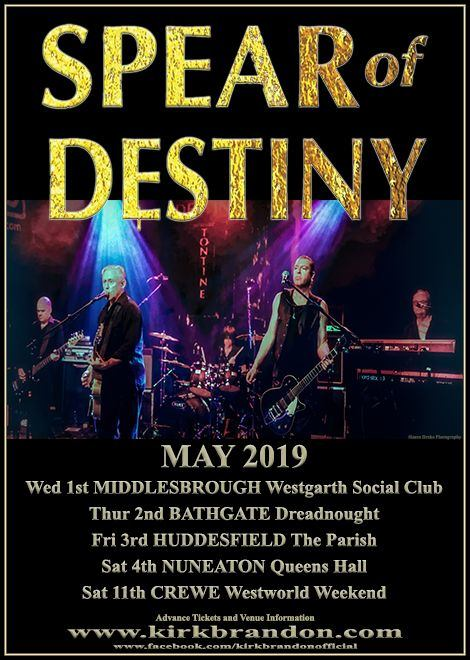 Spear Of Destiny, live 2019, Westworld Weekender XVII, Kirk Brandon, Phil Martini, Drummer, Craig Adams, Adrian Portas, Steve Allan Jones, Paiste 2002, Vic Firth 3A, Ludwig Black Beauty 14 x 6.5, Le Blond, Grapes Of Wrath, One Eyed Jacks, May 2019, Middlesborough, Bathgate, Huddersfield, Nuneaton, Crewe, Tontine LP