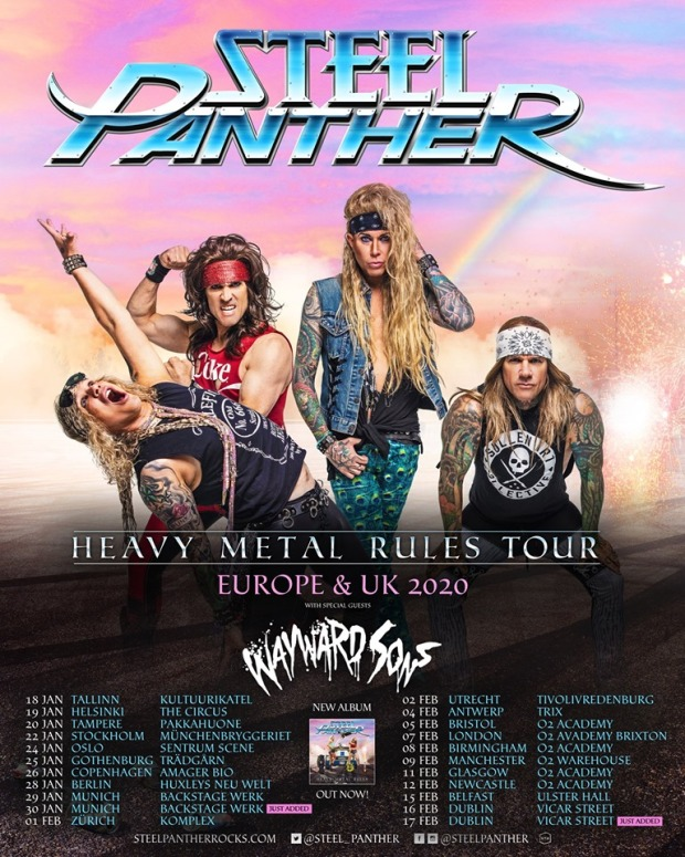 Wayward Sons, Steel Panther, UK & European Tour 2020, The Truth Ain't What It Used To Be, 2nd Album, Heavy Metal Rules Tour, Ghosts Of Yet To Come, British Rock, Phil Martini drummer, Toby Jepson, Sam Wood, Nic Wastell, Dave Kemp, Phil Martini Martin, Michael Starr, Satchel, Lexxi Foxx, Stix Zadinia, Paiste Cymbals, Vic Firth Drumsticks, Remo Drumheads, Ludwig Vistalite, Black Beauty, Tama Iron Cobra, Meinl Cowbell X-Ray Touring, Frontiers Music, Live Nation, Live music, Rock Shows 2020
