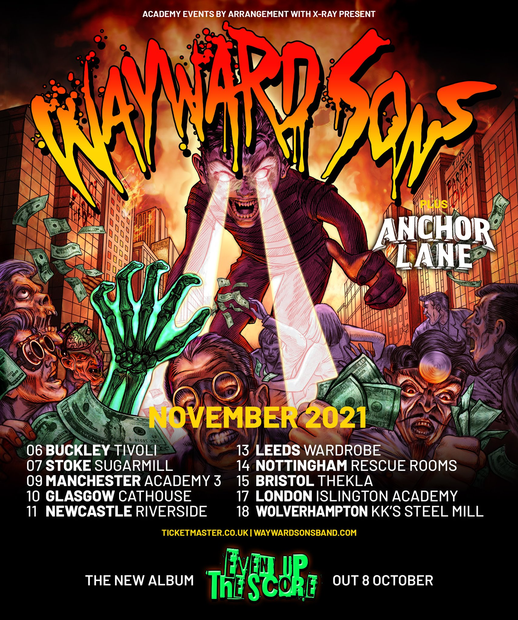 """Wayward Sons, Phil Martini Drummer, Even Up The Score, UK Tour 2021, Toby Jepson, Rock n Roll, Power Pop, 3rd Album, Paiste 2002 Cymbals, Vic Firth 3A Drumsticks, Remo Vintage Emperor Drumheads, Ludwig Vistalite, Candy Cane, Swirly, Cherry & Amber, Ludwig Black Beauty, Tama Iron Cobra Pedals, Meinl 8"""" Cowbell, Joe Elliott's Down N Outz, X-Ray Touring, Frontiers Music, Yamaha Guitars, Anchor Lane"""